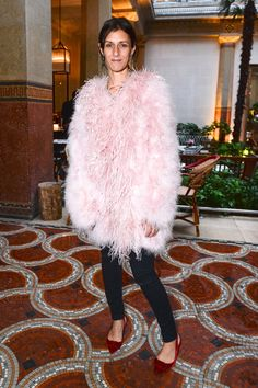 Sally Singer — pink fuzzy coat and Bruno Magli