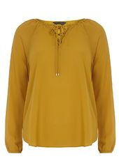 Mustard Lace Up Blouse
