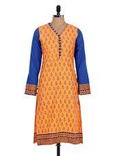 Orange printed cotton kurta