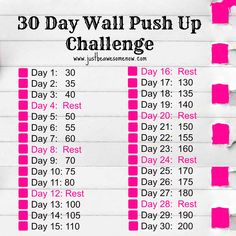 {Free PDF} 30 Day Wall Push Up Challenge ********** Click on the image to be taken to the download page! ********** Laci Hodges @ Be Awesome Now www.justbeawesomenow.com Laci Hodges