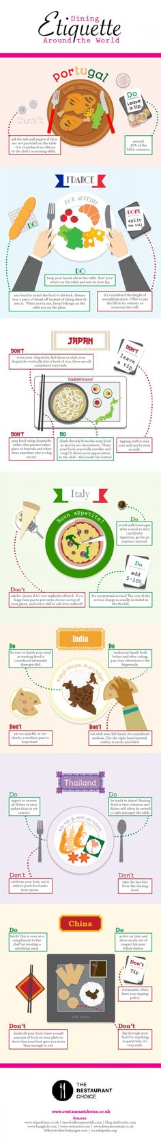 Travel and Trip infographic Dining etiquette around the world. Infographic Description Dining Etiquette Around the World - Infographic Source Dining Etiquette, Etiquette And Manners, Tips & Tricks, Thinking Day, I Want To Travel, Travel Bugs, Food Travel, Usa Travel, Adventure Is Out There
