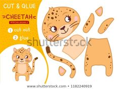 Education paper game for preshool children. Collection of African animals. Illustration of a cute cartoon cheetah - Paper Games Cute Funny Cartoons, Cute Cartoon, Farm Crafts, Crafts For Kids, Cheetah Crafts, Craft Patterns, Felt Patterns, Holly Hobbie, Paper Games