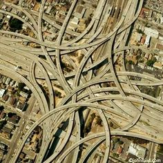 """MacArthur Maze, Oakland, California. """"I spent over two days painstakingly selecting sections of roadway, then copying pasting sizing and rotating the pieces to fit together an ever more complex puzzle"""" ~ John Lund, creator of the image"""