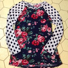 Adorable floral and polka dot shirt, Sz M. Recently bought two online S and M. Keeping the small and selling the medium. Adorable shirt! New, never worn! Clean and smoke free home. Twenty Second Tops Tees - Long Sleeve