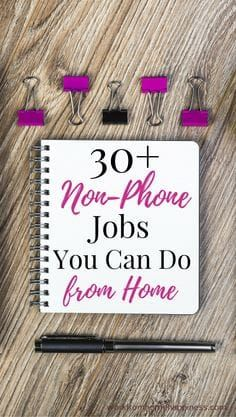 You can work from home without ever picking up a phone with these 30 non-phone jobs. Whether you& looking for full-time work or a way to supplement your income there& plenty of non-phone jobs to choose from. Earn Money From Home, Way To Make Money, Make Money Online, How To Make, Money Fast, Making Money From Home, Online Earning, Work From Home Opportunities, Work From Home Jobs