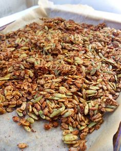 Granola gets an unexpected savory twist with an extreme amount of seeds and the addition of spices like cayenne, black pepper, garlic, and paprika. Eat it by the handful or toss it onto your favori… Spicy Pumpkin Seeds Recipe, Pumpkin Seed Recipes, Savory Snacks, Healthy Snacks, Healthy Eating, Clean Eating, Spicy Recipes, New Recipes, Recipes