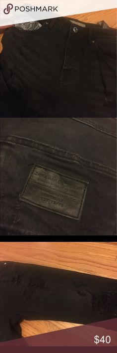 ZARA MAN DENIM BLACK DISTRESSED SKINNY JEANS SZ 30 BLACK DISTRESSED W/BANDA POCKETS PREOWNED WORN 2 TIMES! 100% AUTHENTIC RETAIL $100 SZ 30 Zara Jeans Skinny
