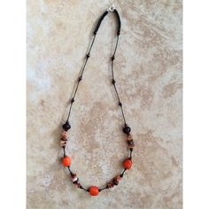 Boho Necklace, Orange, Stone Necklace, Stone Chips, Bohemian Necklace,... ($28) ❤ liked on Polyvore featuring jewelry and necklaces
