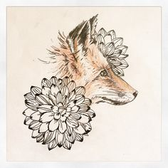 My original design for my side tattoo old work from over a year ago #tattoo #tattodesign #myart #fox #foxtattoo #ink #inked #pretty #art #artist #artwork #oldwork #design #instart #tattooedgirls #followme #flowers#drawing #doodle #sketch #art_posting
