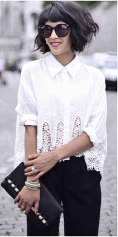 White Embroidered Crop Top with Crochet Hem