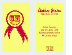 Tarjeta personal, Propuesta Vintage para Clothes Mater, Empresa de venta de ropa