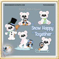 Winter Polar Bear y Penguin Friends Clipart Web Banner, Cute Doodles Drawings, Friends Clipart, Scrapbook Borders, Calendar Stickers, Mural Wall Art, Christmas Scrapbook, Blog Design, Photoshop Elements