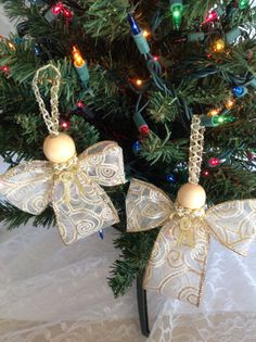Handmade Christmas Ivory Gold Ribbon Angels Ornamets by LiliInLace, $7.00