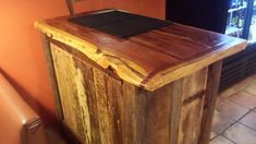 Barn wood bar or waiter stand with cedar slab top featuring a live edge for a restaurant that we built -  Barn Wood Furniture Union Grove, Alabama