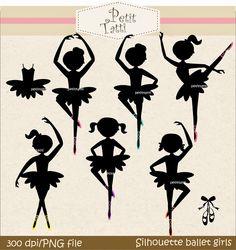 Siluetas de Balletistas y Bailarinas.                                                                                                                                                      Más