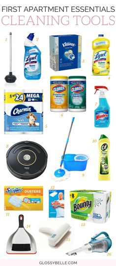 The Ultimate Guide: First Apartment Essentials // If you're about to move out into your first apartment, here are the most important cleaning essentials you'll need to be ready to move out on your own. adulting | move out for the first time | moving out | independence | cleaning essentials | apartment | cleaning tools | cleaning supplies