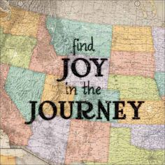 Joyful Journey Vintage Antique USA Map Inspirational Typography Tan & Blue Canvas Art by Pied Piper Creative, Size: 30 x 30, Beige