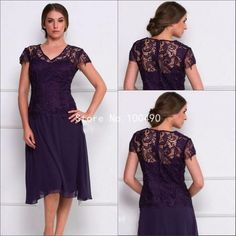 Plus Size 2016 Tea Length Sheer Lace V Neck Short Sleeve A Line Chiffon Purple Evening Dress HH619-in from Weddings & Events on Aliexpress.com   Alibaba Group