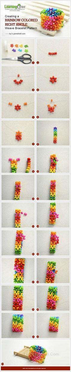 Perlenarmband Creating a Rainbow Colored Right Angle Weave Bracelet Pattern Beaded Jewelry Patterns, Bracelet Patterns, Beading Patterns, Bead Crafts, Jewelry Crafts, Handmade Jewelry, Diy Crafts, Handmade Crafts, Jewelry Ideas
