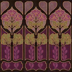Alphonse Mucha inspired wallpaper border. Arts and Crafts era