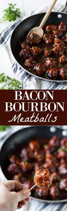 Bacon Bourbon Meatballs! These meatballs are made with bacon and ground beef and simmered in a bourbon bbq sauce. Perfect to serve as an appetizer for the big game or on a sandwich for family dinner! You guys. These meatballs. They're made with….wait
