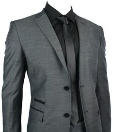 Mens Fitted Suit Charcoal Grey Black Trim Blazer & Trouser Smart Office Wedding Party - Tru Clothing - Bridal Party::