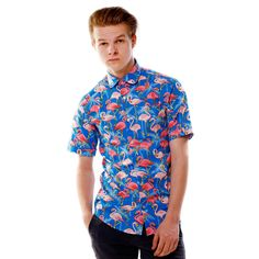 Limited edition shirt created by www.shirtwiseshop.com #limitededition #limitedserie #shirt #roundcollar #summer #printed #cotton #flamingo #palms #tropical #print #prints #shirtwise #shirtwiseshop