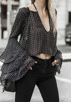 Women Black Plunging Polka Dot Layered Sleeve Ruffle Sexy Blouse - S Bell Sleeve Blouse, V Neck Blouse, Sheer Blouse, Bell Sleeves, Black Women Fashion, Look Fashion, Womens Fashion, Latest Fashion, Sexy Bluse