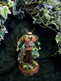 Cernunnos The Green Man. Beltane Pagan God Altar Figure. Corn Dolly. Handmade.