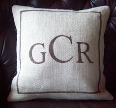 Monogram Pillow Cover 16 x 16  by NorthCountryComforts on Etsy, $36.00