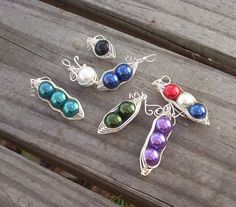 Silver wire Peas in a Pod necklace by RingBinder on Etsy, $9.95
