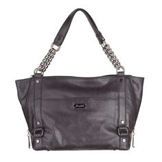 "Dylan-Black BagYour Price:  $110.00   • Silver-tone feet for protection • Black circle link lining • 17"" L x 12"" L x 9.5"" H x 5"" D • Leather • Zipper closure"