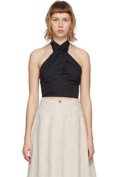 Designer Clothes, Shoes & Bags for Women | SSENSE V Neck Tank Top, Neck Collar, Black Tops, Kai, Women Wear, Poplin, Sleeveless Tops, Color Black, Leather Flats