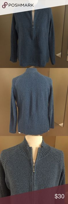 """WOOLRICH Three Quarter Zip Sweater This sweater is a fantastic layering piece that will pair beautifully with your favorite jeans! You can play with the 3/4"""" zipper by accenting a complementary color underneath or zip it up as a stand alone. The color is a gorgeous, softened indigo. 55% ramie/45% cotton, machine washable. No one knows how to make a high end sweater better than Woolrich! This sweater has only been worn once so it's in great shape and is looking for a good home! ❤️ Woolrich…"""