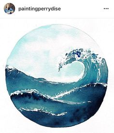 Wave Drawing, Circle Drawing, Circle Canvas, Circle Art, Watercolor Ocean, Watercolor Paintings, Illustration Inspiration, Small Canvas Art, Water Art