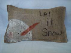 Burlap Snowman Pillow. $6.99, via Etsy.