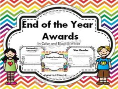 Celebrate the end of the year with these personalized awards/ certificates. You will receive 25 awards that use superlatives to describe character traits of the students in your class. This set comes in both color and black and white. Your students will love receiving these awards.