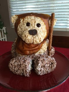 Star Wars Ewok made from rice crispy treats and fruit roll ups.                                                                                                                                                                                 More