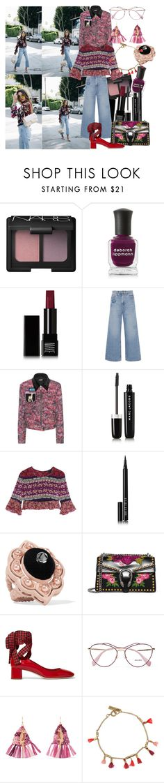 """Add Some Flair: Ruffled Tops"" by brownish ❤ liked on Polyvore featuring NARS Cosmetics, Deborah Lippmann, Make, M.i.h Jeans, Miu Miu, Marc Jacobs, Anna Sui, Bobbi Brown Cosmetics, Gucci and Rosantica"