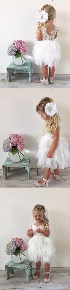 cute flower girl dress, 2017 flower girl dress, short white lace flower girl dress