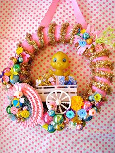 Spring Easter Chick and Bunny Wreath with Vintage by Bethsbagz