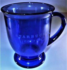 Starbucks Large Coffee Mug Cup Cobalt Blue Glass Pedestal 16oz Anchor Hocking