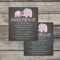 Pink Elephant Books for Baby Insert - Elephant Book Request Insert - Bring a Book Card - Elephant Baby Shower Insert - Baby-103
