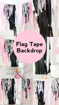 How To Make A Streamer Backdrop for a Photobooth - tattoo ideas Plastic Tablecloth Backdrop, Streamer Backdrop, Vinyl Tablecloth, Streamers, Picture Backdrops, Diy Photo Backdrop, Photo Garland, Balloon Tassel, Balloon Garland