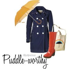 puddle-worthy rain gear from www.just-precious.com... i want a cheerful bright umbrella to go with my yellow rainboots!