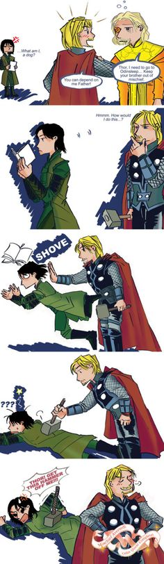 Because the Mjolnir also makes a great paper weight! It is worth noting that Loki didn't even get up to much mischief… yet XD A larger version here :-)…