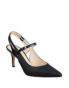 <ul> <li>Mid-heel slingbacks in a striking, smooth leather