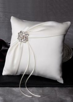 Garbo Ring Bearer Pillow - Satin pillow available in 18 colors.  Decorated with a satin overlay and a crystal brooch.