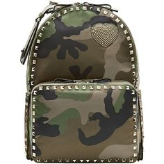 Valentino Valentino Cash & Rocket Camouflage Rockstud Backpack (€2.490) ❤ liked on Polyvore featuring bags, backpacks, handbags, taschen, green, backpacks bags, camo backpack, green evening bag, brown bag and valentino bags