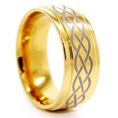 Promise Rings Simple | 9mm Celtic CrissCross Golden Colored Tungsten Wedding Band Size 145 *** You can get additional details at the image link. Note:It is Affiliate Link to Amazon.